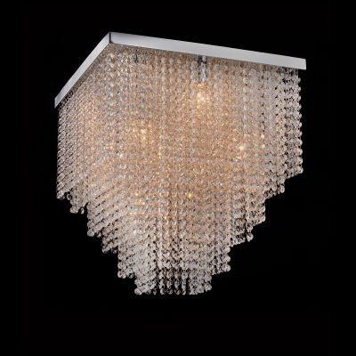 Plafon Bella Iluminação Sobrepor Niagara Cristal K9 Metal Cromo 46,5x45cm 9 G9 Halopin 110v 220v Bivolt SS015 Sala Estar Hall