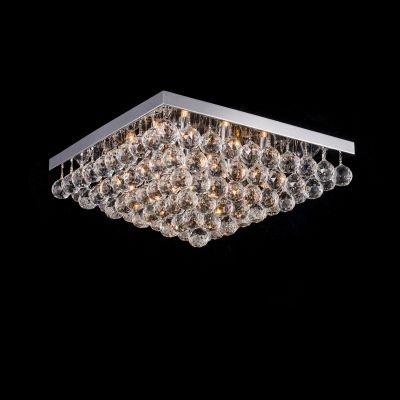 Plafon Bella Iluminação Sobrepor Spring Metal Cromo Cristal K9 20x45cm 8 G9 Halopin 110v 220v Bivolt SS003 Sala Estar Saguão