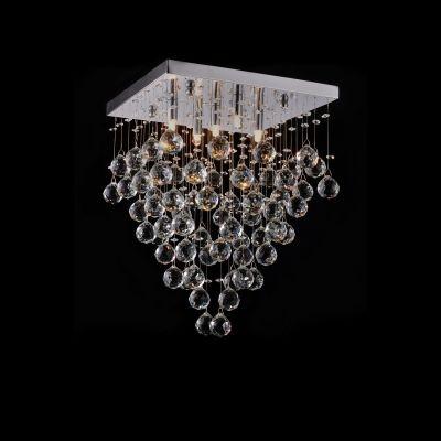 Plafon Bella Iluminação Sobrepor Spring Metal Cromo Cristal K9 46,5x35cm 5 G9 Halopin 110v 220v Bivolt SS005 Sala Estar Saguão