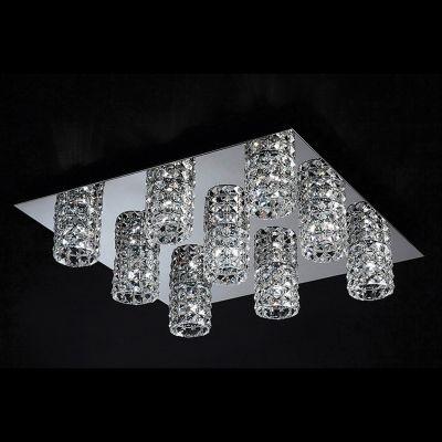 Plafon Bella Iluminação Sonata 9x Tubos Quadrado Metal Cristal K9 13x62cm 9 G9 Halopin HO2669C Saguão Sala Estar