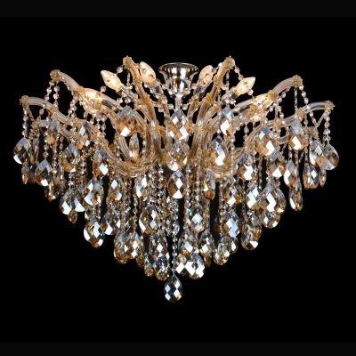 Plafon Bella Iluminação Teia Aranha Cromo Cristal K9 Champagne 70x95cm 12 E14 40w 110v 220v Bivolt AR002A Saguão Hall