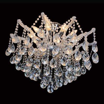 Plafon Bella Iluminação Teia Aranha Cromo Cristal K9 Translucido 60x70cm 8 E14 110v 220v Bivolt 40w AR001C Saguão Hall
