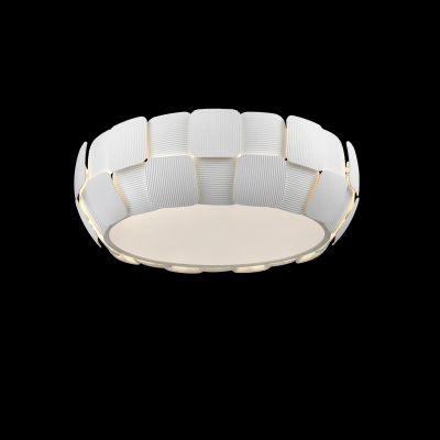 Plafon Bella Iluminação Vega Policarbonato Acrílico Redondo Branco 16x46cm 4 E27 110v 220v Bivolt HO102 Cozinhas Lavabos