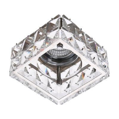 Spot Bella Iluminação Cristal K9 Embutir Quadrado Metal Cromo 7,3x10,5cm 1 G9 Halopin 110v 220v Bivolt YD1024 Sala Estar Saguão