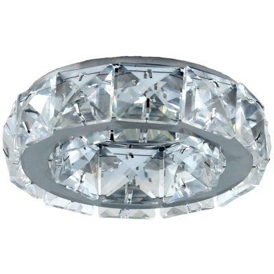 Spot Bella Iluminação Cristal K9 Embutir Redondo Metal Cromo 5x10cm 1 GU10 Dicróica 110v 220v Bivolt YD101 Sala Estar Saguão