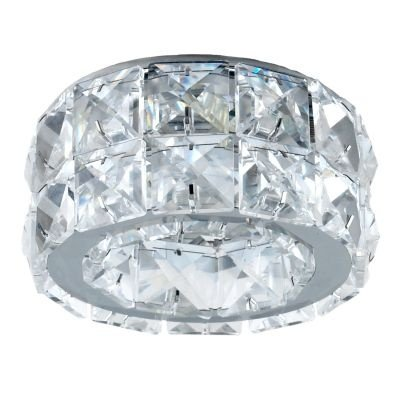 Spot Bella Iluminação Cristal K9 Embutir Redondo Metal Cromo 7,1x10cm 1 GU10 Dicróica 110v 220v Bivolt YD102 Sala Estar Saguão