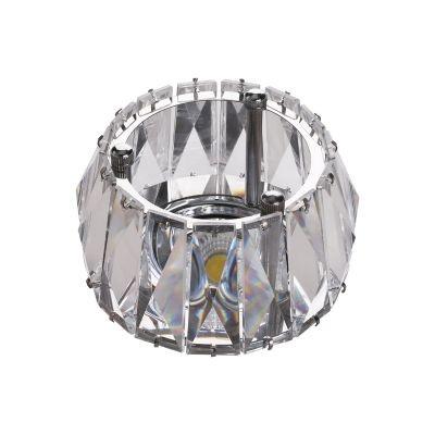 Spot Bella Iluminação Cristal K9 Embutir Redondo Metal Cromo 7,8x9,2cm 1 GU10 Dicróica 110v 220v Bivolt YD1020 Sala Estar Saguão