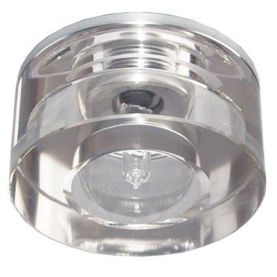 Spot Bella Iluminação Cristal K9 Redondo Embutir Aço Cromo 5,5x7cm 1 G4 Bi-pino 110v 220v Bivolt YD765 Corredores Quartos
