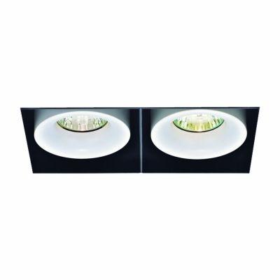Spot Bella Iluminação Duplo Aro No Frame Metal Branco 17,8x11,5cm 1 GU10 Dicróica 50W 110v 220v Bivolt NS1030 Sala Estar Hall