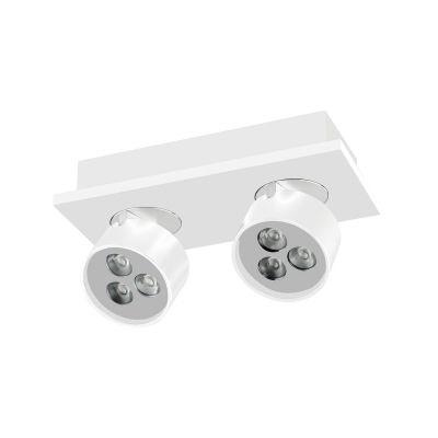 Spot Bella Iluminação Duplo Otic Regulavel Metal Branco 8,3x18,8cm 6 LED 1W 110v 220v Bivolt YD2582B Sala Estar Quartos