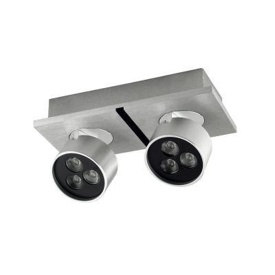 Spot Bella Iluminação Duplo Otic Regulavel Metal Escovado 8,3x18,8cm 6 LED 1W 110v 220v Bivolt YD2582 Sala Estar Quartos