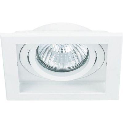 Spot Bella Iluminação Embutir Conecta Quadrado Metal Branco 4x10,2cm 1 GU10 Dicróica 110v 220v Bivolt NS7001B Sala Estar Hall