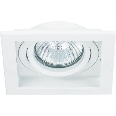 Spot Bella Iluminação Embutir Conecta Quadrado Metal Branco 4x9cm 1 GU10 Minidicróica 110v 220v Bivolt NS7351B Sala Estar Hall