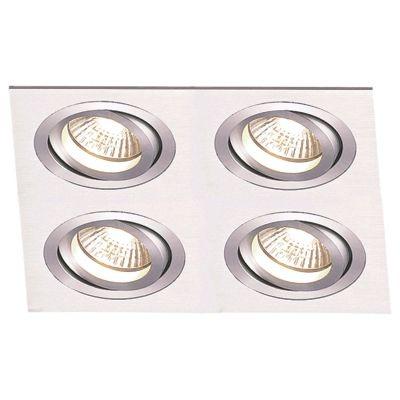 Spot Bella Iluminação Embutir Ecco Quadrado 4 Foco Metal 5,8x17,4cm 4 GU10 Dicróica NS5604A Saguão Quartos