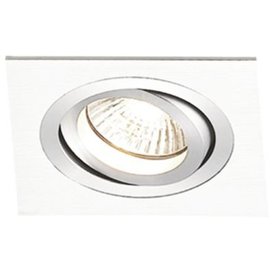 Spot Bella Iluminação Embutir Ecco Quadrado Metal Branco 5,8x9,2cm 1 GU10 Dicróica 110v 220v Bivolt NS5601B Sala Estar Hall