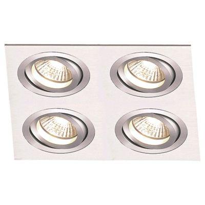 Spot Bella Iluminação Embutir Ecco Quadrado Metal Escovado 12x34cm 4 PAR30 110v 220v Bivolt NS5304A Saguão Corredores