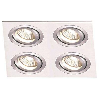 Spot Bella Iluminação Embutir Ecco Quadrado Metal Escovado 5x14,8cm 4 Minidicróica 110v 220v Bivolt NS5104A Sala Estar Saguão
