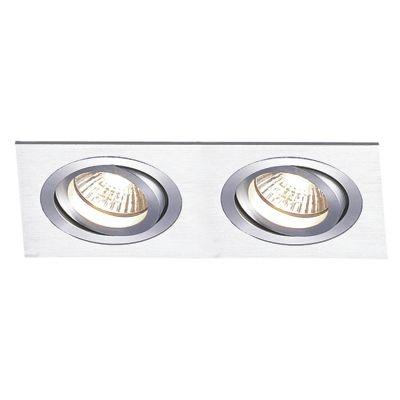 Spot Bella Iluminação Embutir Ecco Ret Duplo Metal Escovado 12x34cm 2 PAR30 110v 220v Bivolt NS5302A Sala Estar Quartos