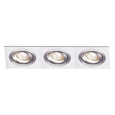 Spot Bella Iluminação Embutir Ecco Ret Triplo Metal Escovado 6,5x51cm 3 AR111 110v 220v Bivolt NS5113A Quartos Cozinhas