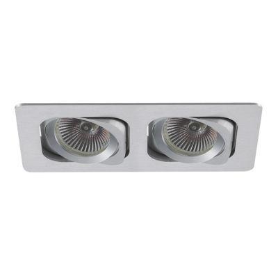 Spot Bella Iluminação Embutir Monet Ret Metal Duplo 5,7x17,4cm 2 GU10 Dicróica 110v 220v Bivolt NS6002B Sala Estar Hall