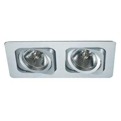 Spot Bella Iluminação Embutir Monet Ret Duplo Metal Branco 8x24cm 2 AR70 110v 220v Bivolt NS6702B Cozinhas Corredores