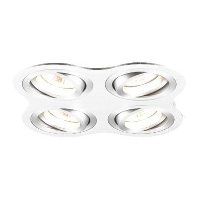 Spot Bella Iluminação Embutir Ouse Quadrado 4 Foco Metal 5,8x25,4cm 4 GU10 Dicróica 110v 220v Bivolt NS5600-4B Sala Estar Hall