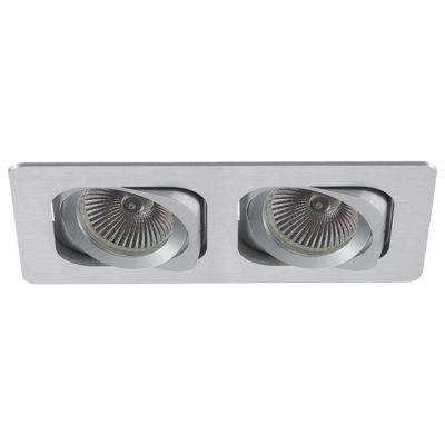 Spot Bella Iluminação Embutir Ret Monet Duplo Metal Escovado 11,5x24cm 2 PAR20 110v 220v Bivolt NS6202A Cozinhas Sala Estar