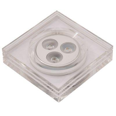 Spot Bella Iluminação LED Glow Quadrado Embutir Metal Acrílico 4,3x8,8cm 3 LED 1W 110v 220v Bivolt YD227QC Quartos Sala Estar