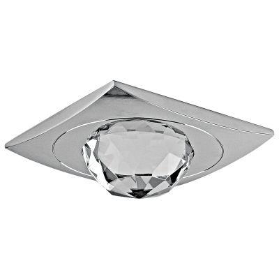 Spot Bella Iluminação Shine Quadrado Cristal K9 Metal Cromo Ø8,4cm 1 GU10 Dicróica 110v 220v Bivolt YD796 Corredores Quartos
