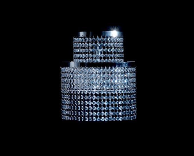 Arandela Interna Cilindro Dupla Alumínio Cromado Cristal K9 Translúcido 30x40 DNA Iluminação Halopin Ara-001 Salas e Quartos