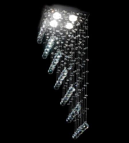 Lustre Quadrado Cromado Rampa Cristal K9 Translúcido 4 Lamp. 27x70 DNA Iluminação Gu10 Qu004/30-rmp Cozinhas e Quartos