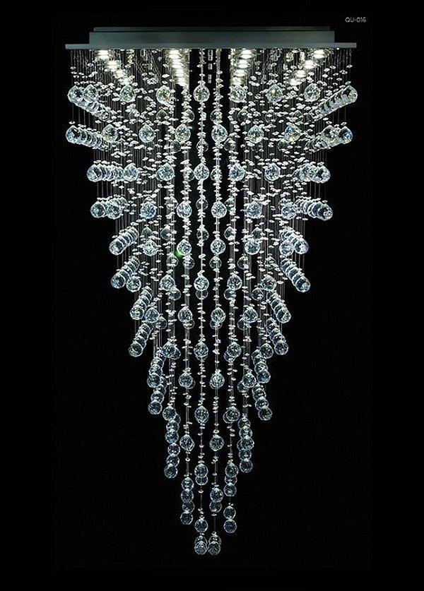 Lustre Quadrado Inox Cristal K9 Intercalado Translúcido 16 Lamp. 70x80 DNA Iluminação Gu10 Qu-016 Cozinhas e Salas