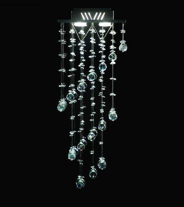 Lustre Quadrado Intercalado Cristal K9 Translúcido 4 Lamp. 27x70 Cn DNA Iluminação Gu10 Qu-004/30 Cozinhas e Salas