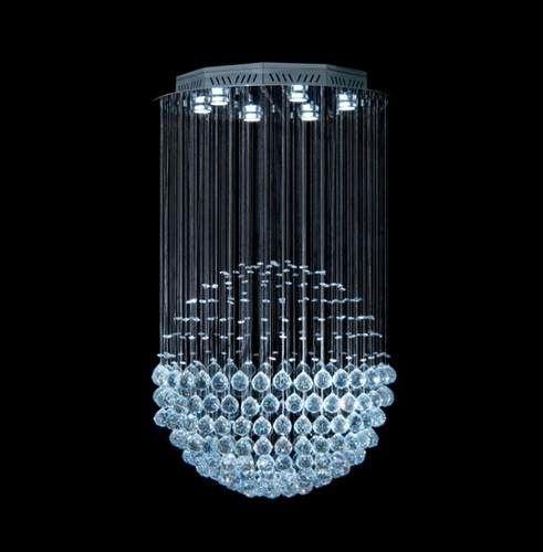 Lustre Redondo Esfera Cromado Cristal K9 Translúcido 7 Lamp. Ø60x80 DNA Iluminação Gu10 Esf-060 Saguão e Quartos