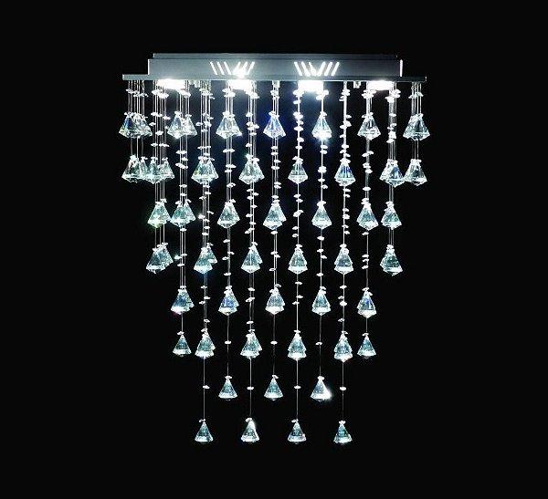 Lustre Retangular Inox Pião Cristal K9 Intercalado Translúcido 8 Lamp. 60x30 DNA Iluminação Gu10 Rt-008p Saguão e Salas