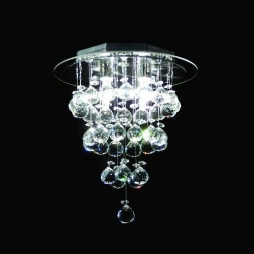 Plafon Redondo Cromado Inox Cristal K9 Translúcido Uniforme Ø30 DNA Iluminação G9 Rdac-003 Banheiros e Cozinhas