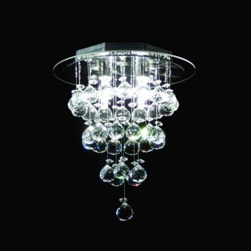 Plafon Redondo Inox Cromado Cristal K9 Asfour Uniforme Ø20 DNA Iluminação Rdac-002 G9 Corredores e Salas