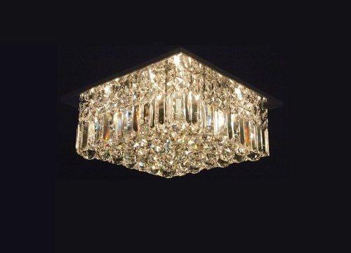 Plafon Sobrepor Quadrado Cristal K9 Lapidado Champagne Placas e Bolas 50x50 DNA Iluminação Halopin QUPB-50 Hall e Quartos