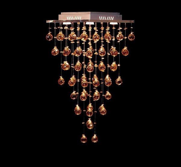 Plafon Sobrepor Quadrado Inox Cristal K9 Café Intercalado 37x37 DNA Iluminação GU10 Qu-005 Salas e Quartos