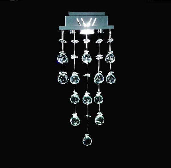 Plafon Sobrepor Quadrado Inox Fosco Cristal K9 Asfour Intercalado 18x18 DNA Iluminação GU10 Qu001/30-int Quartos e Escritórios