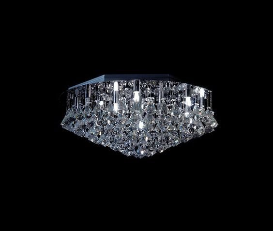 Plafon Sobrepor Redondo Inox Cristal K9 Asfour Pião Ø60 DNA Iluminação Halopin Rd-013 P Banheiros e Salas