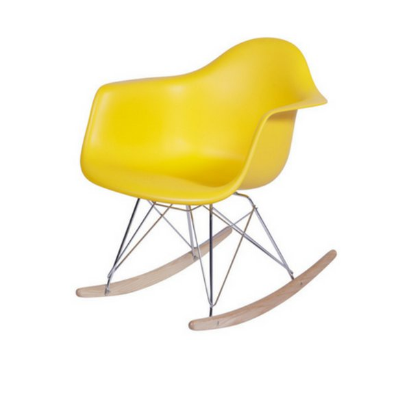 Cadeira Balanço Fratini Design Eames Eiffel DAR Ray Salas Florida Amarelo Braços Polipropileno