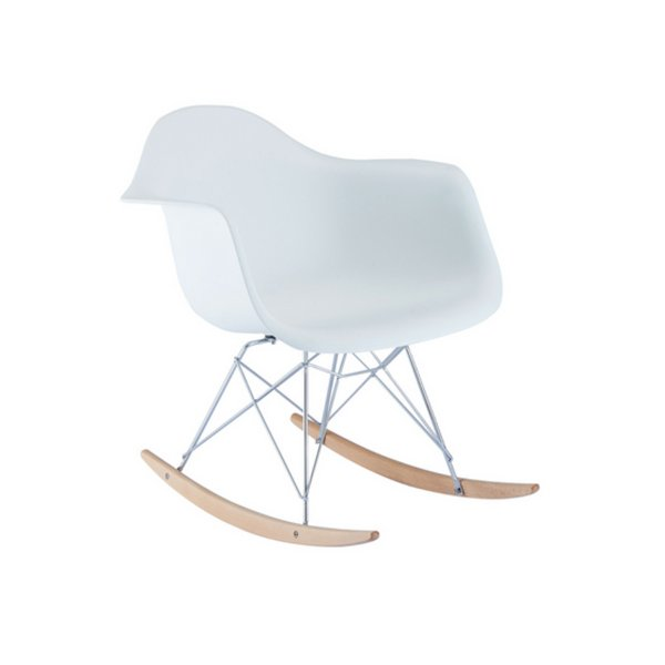 Cadeira Balanço Fratini Design Eames Eiffel DAR Ray Salas Florida Branco Braços Polipropileno