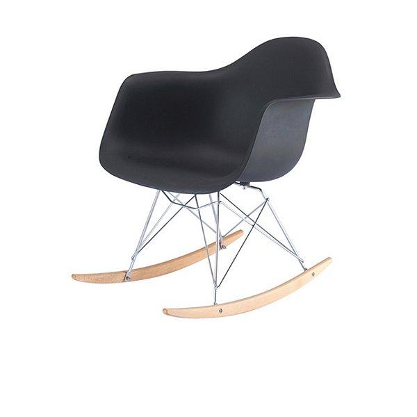 Cadeira Balanço Fratini Design Eames Eiffel DAR Ray Salas Florida Preto Braços Polipropileno