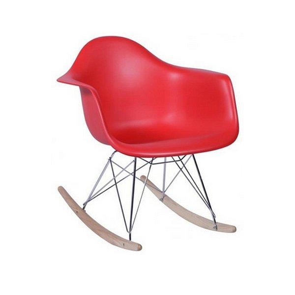 Cadeira Balanço Fratini Design Eames Eiffel DAR Ray Salas Florida Vermelha Braços Polipropileno