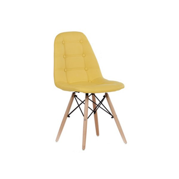 Cadeira Design Fratini Botone Eames Eiffel DAR Ray Pes Madeira Natural Salas Madrid Amarelo