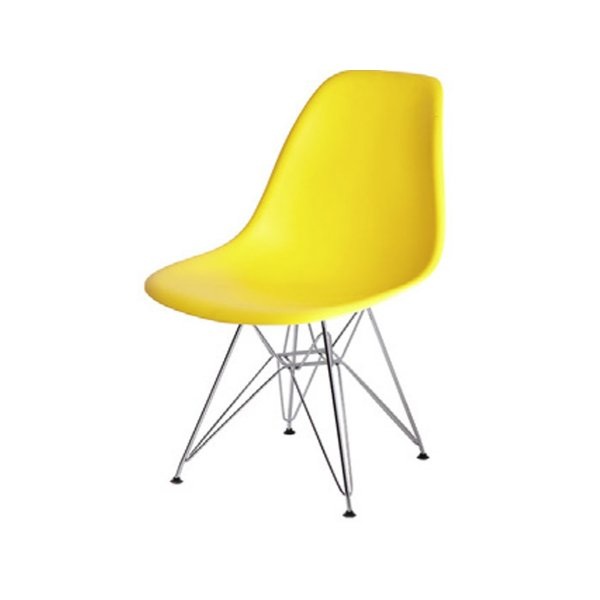 Cadeira Design Fratini Eames Eiffel DAR Ray Pes Ferro Salas Florida Amarela Assento Polipropileno