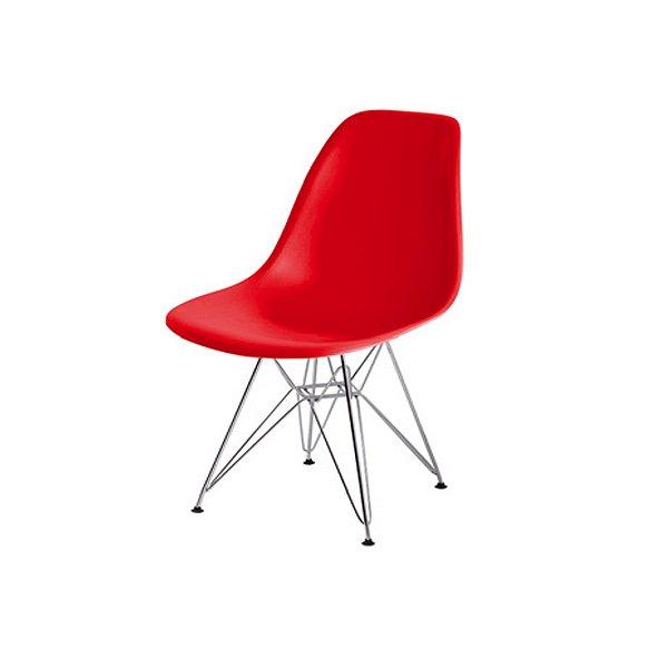 Cadeira Design Fratini Eames Eiffel DAR Ray Pes Ferro Salas Florida Vermelha Assento Polipropileno