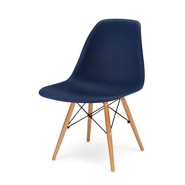 Cadeira Design Fratini Eames Eiffel DAR Ray Pes Madeira Natural Salas Florida Azul Marinho Assento Polipropileno