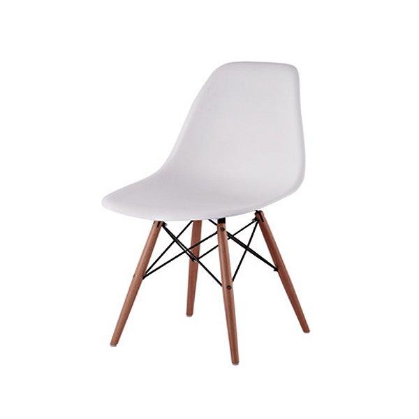 Cadeira Design Fratini Eames Eiffel DAR Ray Pes Madeira Natural Salas Florida Branca Assento Polipropileno